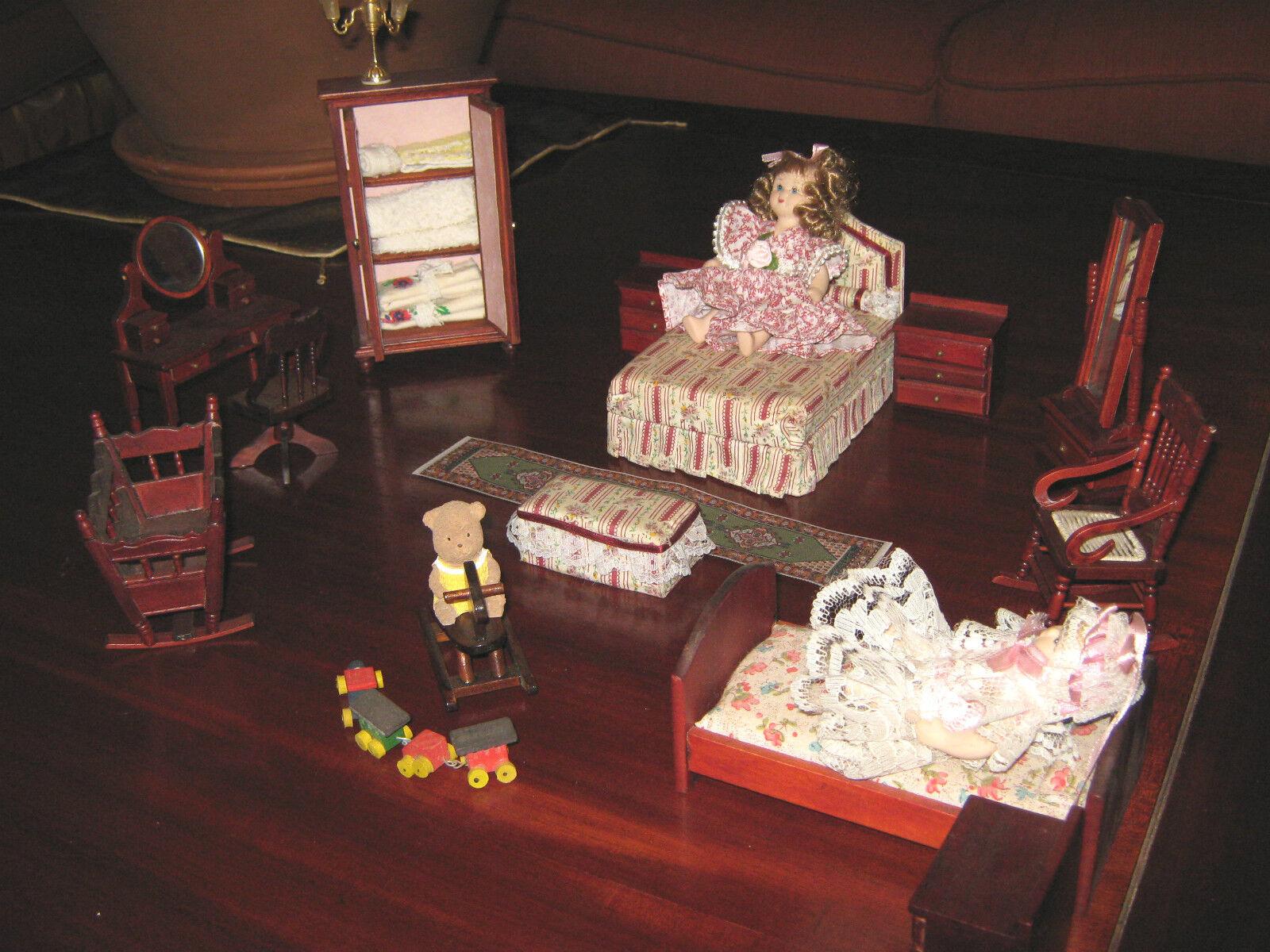 Doll's House/Camera Da Letto In legno In Stile Per Casette Delle Bambole pz.19