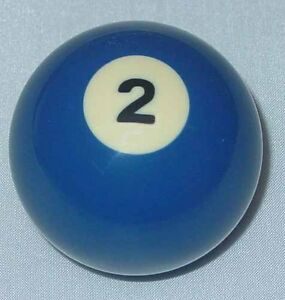 "New 2 1/4"" Number Two (2) Billiard Pool Ball Standard Individual Replacement"