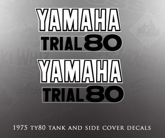 YAMAHA 1975 TY80 TANK AND SIDE COVER DECALS GRAPHICS LIKE NOS