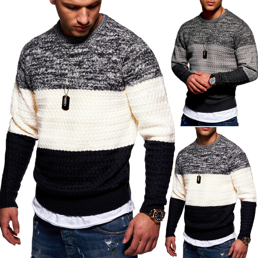 Herren Pullover Strick Rundhals Strickpullover Sweatshirt Colour-Block Pulli NEU