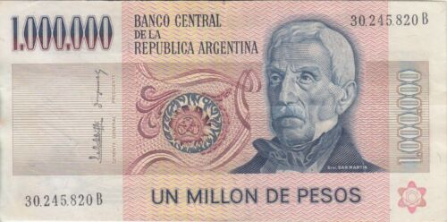 VF Argentina banknote P310 1 000 000  Pesos sig Lopez-Gonzalez del Solar pfx B