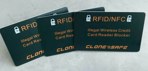 Blocker 2 x CLONE SAFE®️ RFID /& NFC Wireless Credit Card Illegal Reader Shield