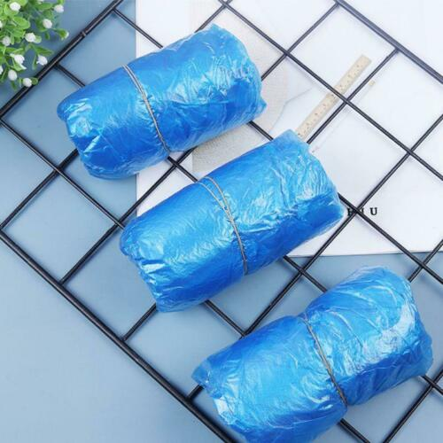 100 pcs Disposable Shoe Cover Blue Plastic Anti Slip Cleaning Overshoes Boot Saf
