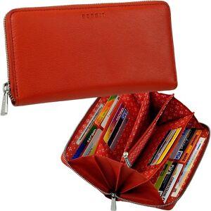 ESPRIT-Damen-Geldboerse-Leder-rot-Reissverschluss-rundum-Portemonnaie-Geldbeutel