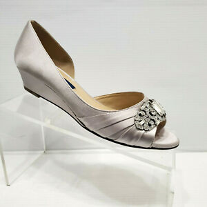 8a25e109c Image is loading Nina-Radha-Swarovski-Crystal-Wedge-Heels-Evening-Shoes-