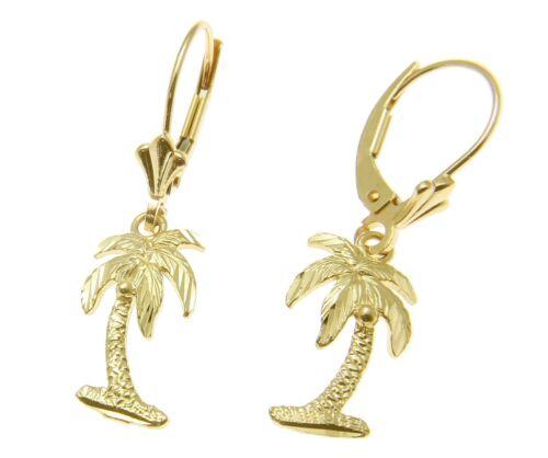 SOLID 14K YELLOW GOLD MEDIUM HAWAIIAN DIAMOND CUT PALM TREE EARRINGS LEVERBACK