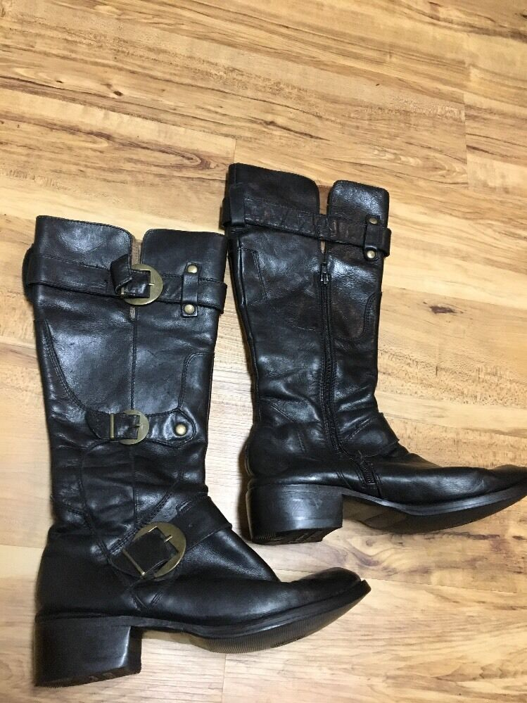 Long Life Indiana Women's Black Leather  Wide Calf Calf Calf Boots Size 7 Buckles 6df8f2