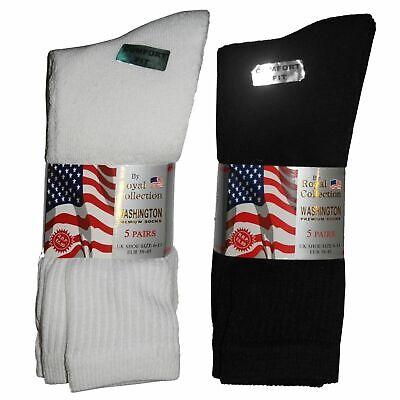 10 Pair Cotton Rich Mens Plain Classic Sports Socks Thick Black / White Uk 6-11
