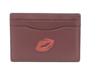 Coach Flat Credit Card Case Holder Leather Multicolor w Glitter Red ... 3b3101f84223a