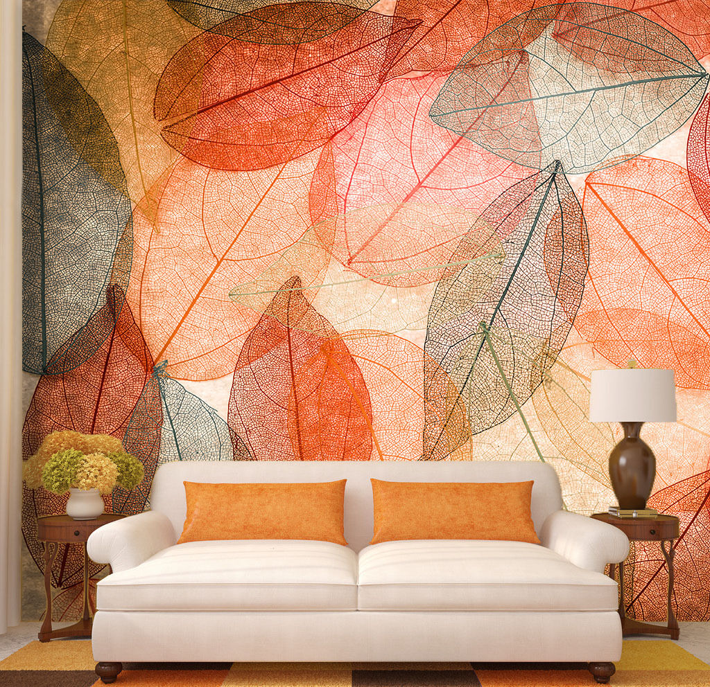 3D Transparent Leaves 6 Wall Paper Wall Print Decal Wall Deco Wall Indoor Murals