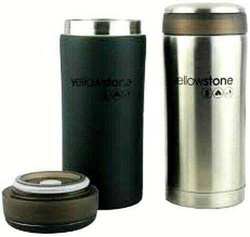 Travel Mug Tumbler Set of 2 Mugs Silver Black YELLOWSTONE CW033