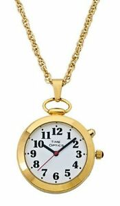 TimeOptics-Women-039-s-Talking-Gold-Tone-Pendant-Day-Date-Alarm-Watch-GWC300G