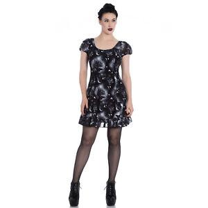Hell-Bunny-Ash-Black-Crow-Print-Chiffon-Occult-Wicca-Witch-Gothic-Mini-Dress