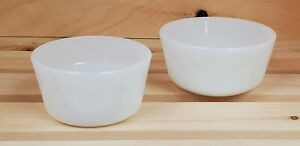 Vintage Milk Glass Glasbake Anchor Hocking Small Dish Containers White Set of 2
