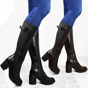 Womens-Ladies-Calf-High-Boots-Riding-Stretch-Wide-Leg-Low-Block-Heel-Winter-Size