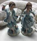 2 VTG Andrea by Sadek Porcelain Figurine Colonial Couple Boy Girl Man Woman 7190