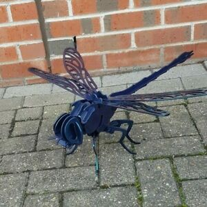 3D Painted metal dragonfly sculpture