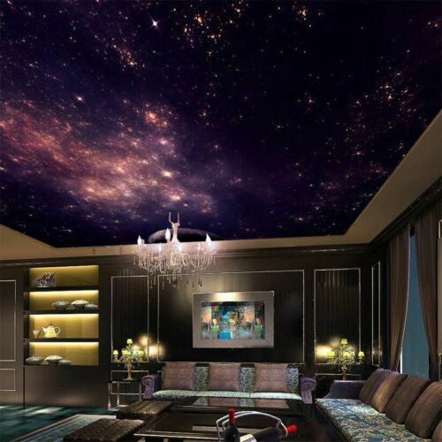 Night Sky Ceiling Wallpaper 3D Star Nebula Galaxy Theme Murals For Wall Covering