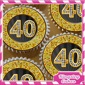 24-x-GOLD-DIAMOND-40TH-BIRTHDAY-EDIBLE-CUPCAKE-TOPPERS-RICE-PAPER-KG040-24