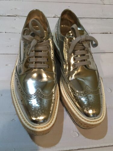 PRADA Wingtip Brogue metalic silver Platform Sneak