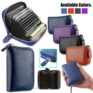 the best attitude 7cadd f8dc6 Details about New Solid Leather Accordion Wallet Zip Around ID Credit Card  Case Holder
