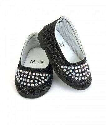 Black Sparkle Mary Jane Shoes fits American Girl Doll
