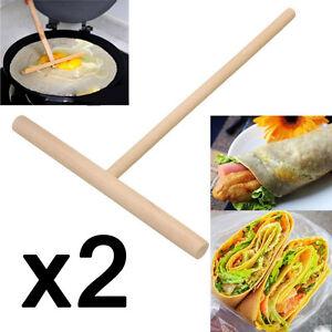 2x rastrillo de madera redondo bateador crepe esparcidor cocina