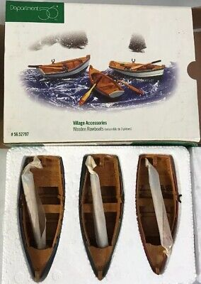 ~ #52797 NEW IN BOX Dept 56 Village Accessory ~ Wooden Rowboats Set of 3