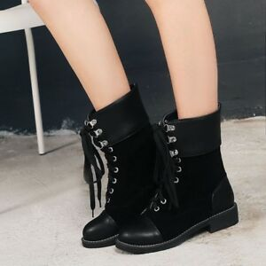 Women-039-s-low-Chunky-Talons-Bout-rond-lacets-cuir-Combat-Moto-Cheville-Bottes