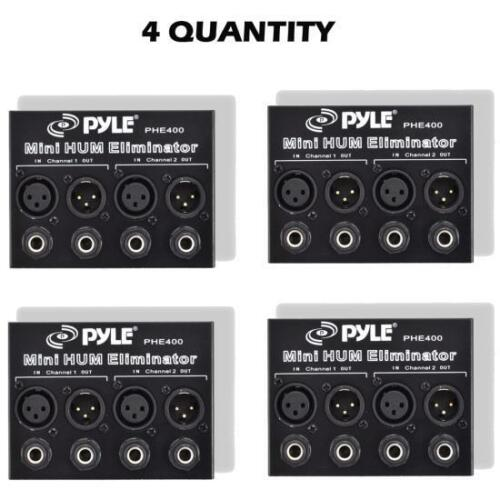 Noise Eliminator 2-Channel Box with 1//4/'/' /& XLR Jack QTY 4 Pyle PHE400 Hum