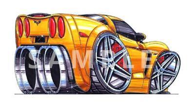 Cartoon Vette WALL DECAL MURAL PRINT MAN CAVE 4909 corvette automotive art