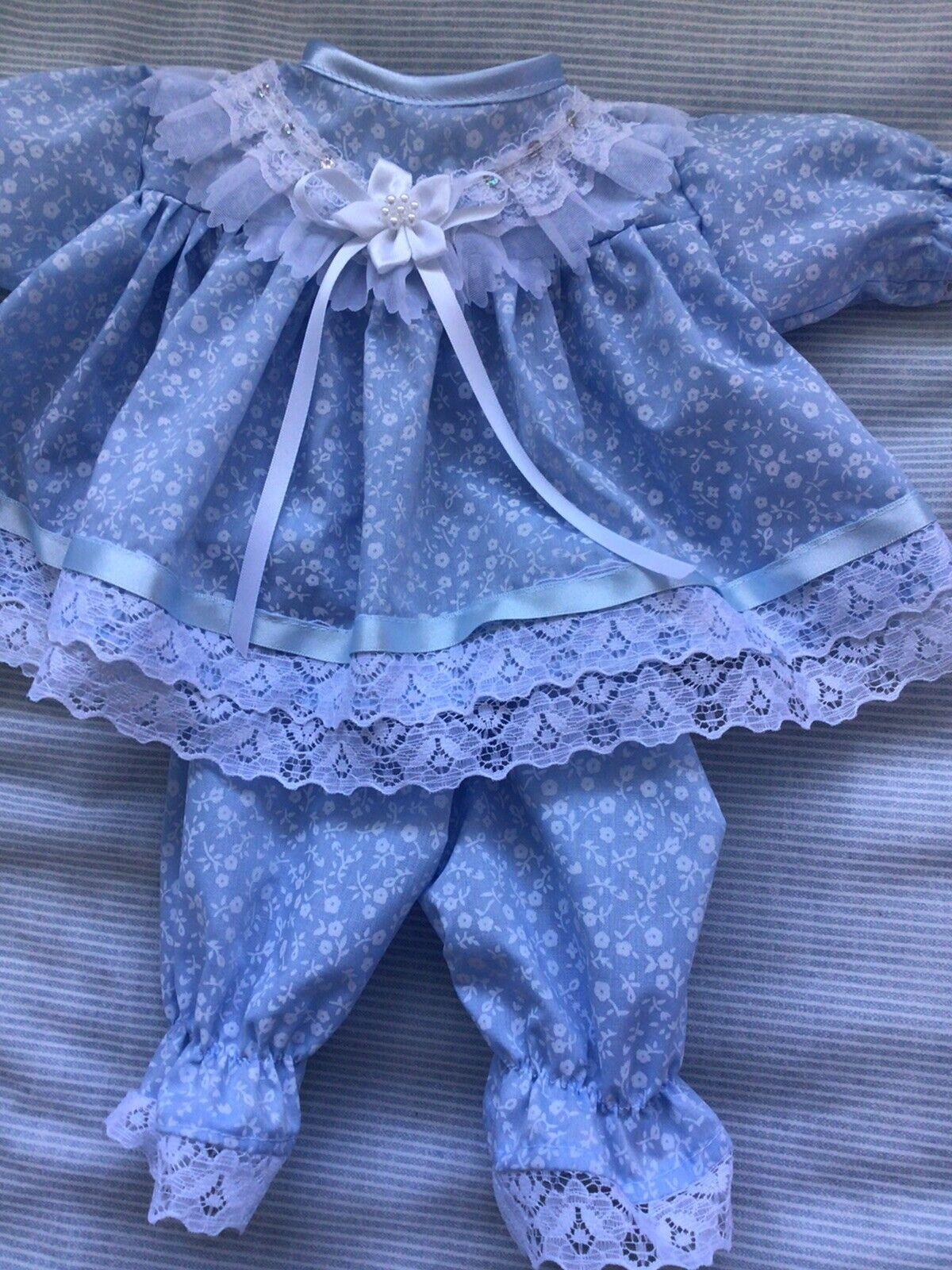 Handmade Prem baby Two piece Dress set Size 3-7 Lbs Blue Fluer polycotton
