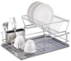 Rust-Free-2-Tier-Stainless-Steel-Collapsible-Dish-Kitchen-Rack-Drainer-Holder-UK