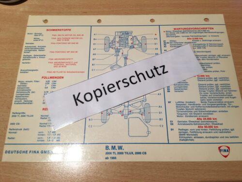 2000 TILUX 2000 CS ab Bj FINA Schmier-und Wartungsplan BMW 2000 T.I. 1966