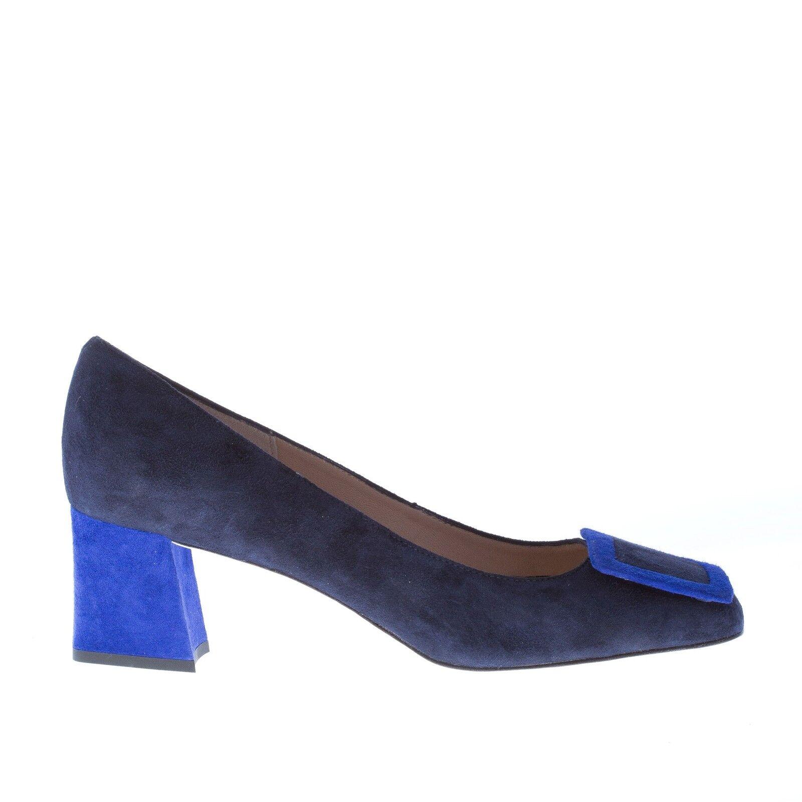 Zapatos de mujer il Borgo Firenze bomba de hebilla azul oscuro y tacones azules eléctricos