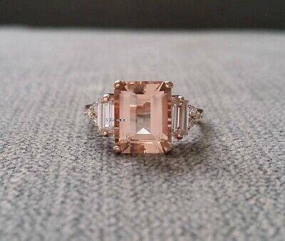 3Ct Emerald Cut Morganite Diamond Solitaire Engagement Ring 14K Rose Gold Finish