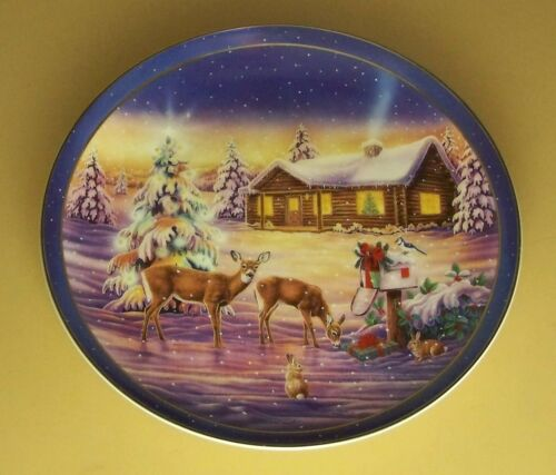 Deer Friends at Christmas RADIANT COUNTRYSIDE Plate #6 Log Home House Cabin