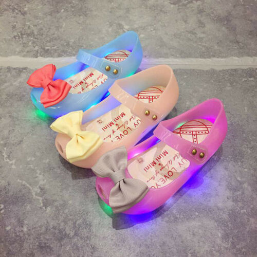 Toddler Kids Baby Girl Luminous Sandals Lighted Soft Sole Princess Crib Shoes UK