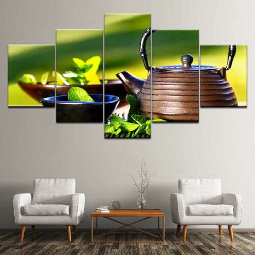 Pot Of Green Tea Leaves Poster 5 Panel Canvas Print Wall Art Home Decor Painting