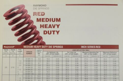 "1//2/"" x 3-1//2/"" Raymond Die Springs Medium Heavy Duty Red 9//32/"" rod."