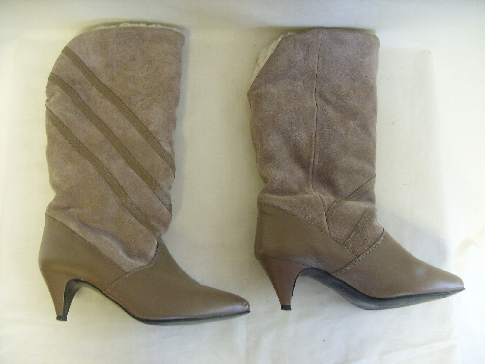 Ladies Boots - Unknown, size 4.5, light brown, leather & suede, 80's - 3028