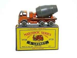 Matchbox-Lesney-No-26b-Foden-Hormigonera-escasos-039-C-039-Caja-raro-barril-Gris-Oscuro
