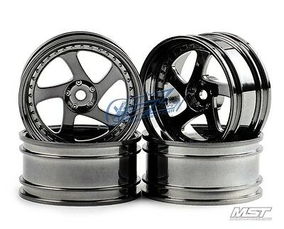 MST Silver black TMB RC 1/10 Drift Car Wheels offset 8 (4 PCS) 102045SBK New