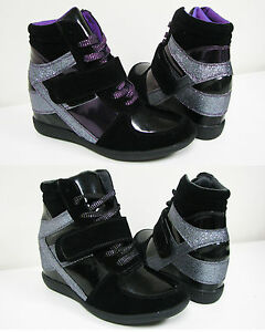 super popular a1c37 6b107 Women s High Top Sneaker Lace Up Fashion Heel Hidden Wedge Shoes, ...