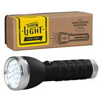 Gentlemen's Hardware - Silver Led Torch With Black Handle In Gift Box