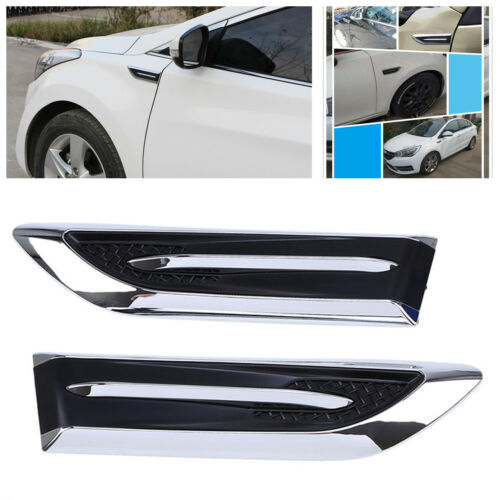 2X ABS Car Air Intake Flow Vent Decorative Blade Stickers Side Mesh Cover Bonnet