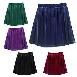 High-Waisted-Velvet-Skater-Pleated-A-line-Elasticized-Soft-Skirt-Red-SYH
