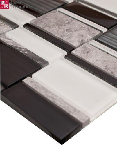 Glasmosaik marbrée Mosaïque Mosaïque Carrelage mosaïques Noir Blanc Gris 30x30cm