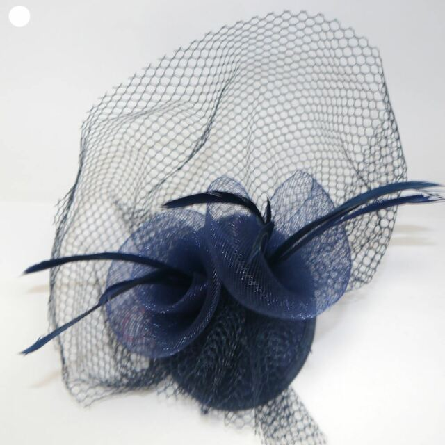 99249938f036c Small Skull Cap Fascinator With Feathers and Net 2 Fork Clips ...