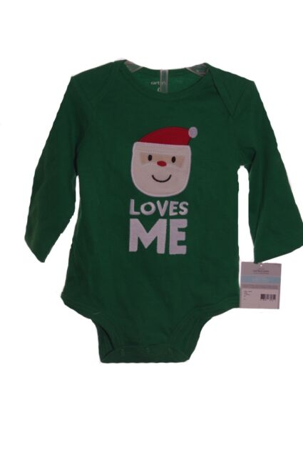 7aa0ebfafecd Buy With Tags Carters 6 Month Baby Christmas Santa Loves Me Onesie ...